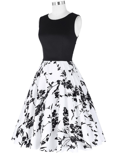 Women Summer Dress 2016 Plus Size clothing Audrey hepburn Floral Retro Swing Retro Vintage Sleeveless Crew Neck Picnic Dress