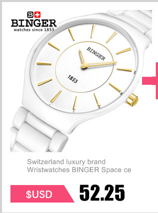803f218bf03 Suisse marque de luxe Montres Binger Espace céramique amateurs de montres  de quartz hommes style Résistance À L eau horloge B8006B-2
