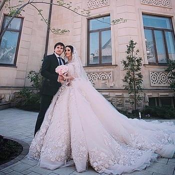 Vestidos de novia nuevo elegante vestido de novia largo 2017 cuello barco mangas largas cola real apliques con cuentas tul de encaje vestido nupcial