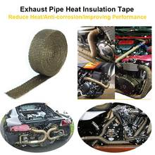 5 Meters Titanium Exhaust Pipe Fiberglass Heat Shield Tape Reduce Heat Wrap Roll For Vehicle Motorcycle Boat Engine Pipe