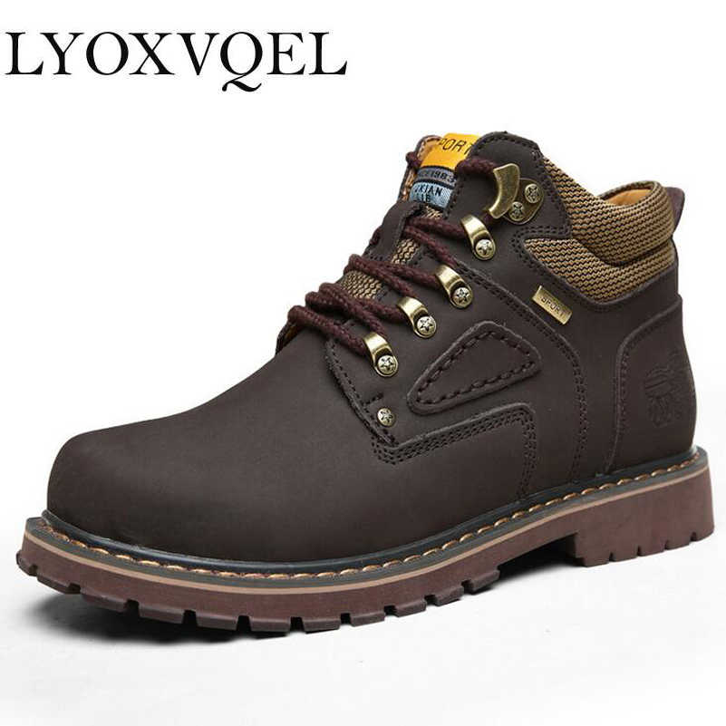 Super Warm Men s Winter Leather Men Waterproof Rubber Snow Boots Leisure  Boots England Retro Shoes For ae73888d27d2