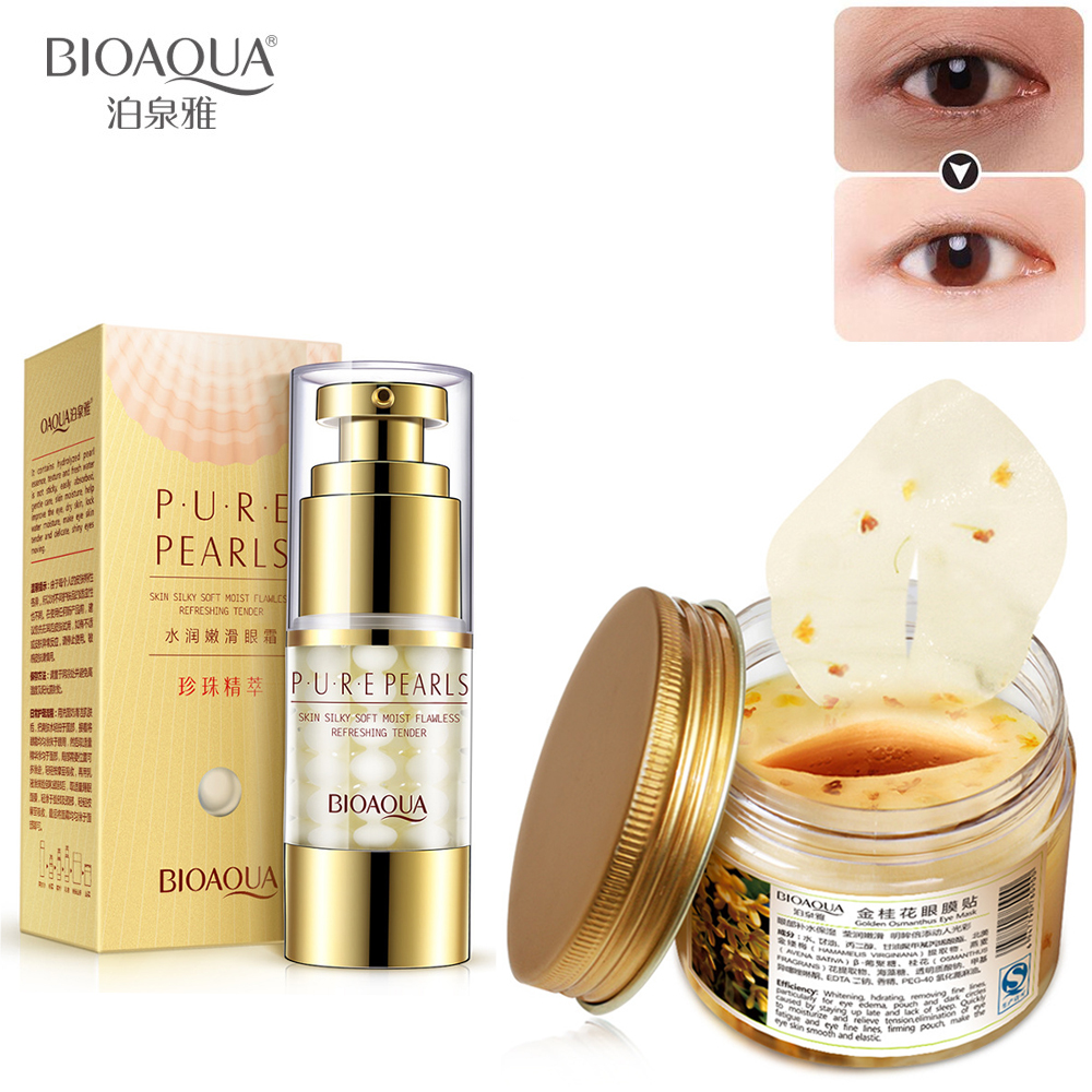 BIOAQUA Pearl Eye Cream + Gold Osmanthus Eye Mask Collagen Gel Whey Protein Anti Puffiness Remove Dark circles Eye Skin Care Set mabox natural eye gel for appearance of dark circles puffiness wrinkles and bags for under and around eyes eye gel essence gel
