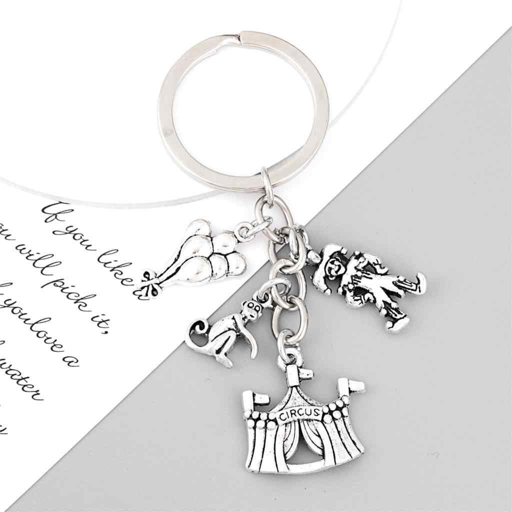 Circus Tent Keychain ~ Circus Animals Gift ~ Circus Jewelry ~ Circus Keychain ~ Clown Keychain ~ Monkey Keychain