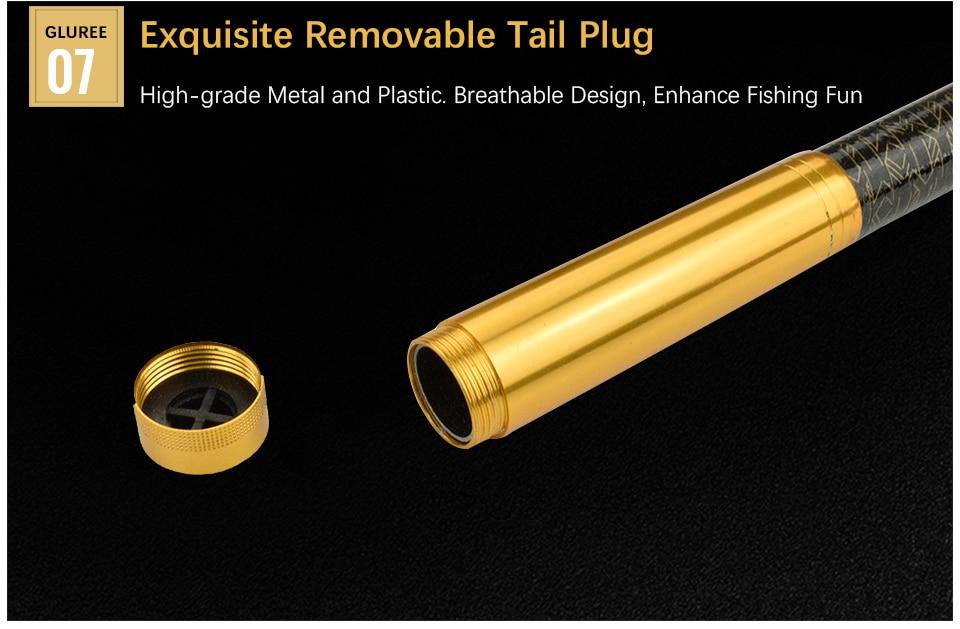 GLUREE 99%Carbon Portable Telescopic Fishing Rod Sea Rod1.82.12.42.73.0M Ocean Rod Spinning Fishing Tackle Golden Handle (16)