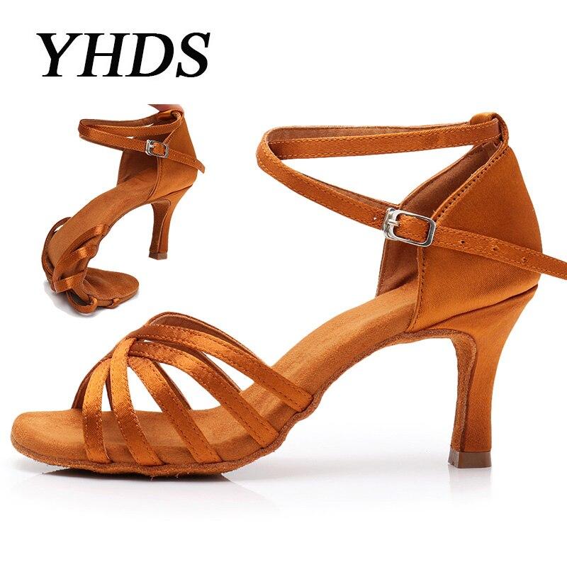 YHDS Selling Ballroom New Professional Latin Dance Shoes for Women/Girls/Ladies Tango Salsa High Heeled Indoor Dancing Satin/PU