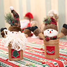 New Year DIY Christmas burlap Santa Claus snowman candy jar traditional rustic color Xmas candy jar Christmas gift Party AB303 1pc lovely christmas candy jar snowman santa claus pattern candy jar for children gift festive party supplies