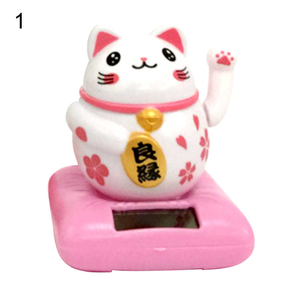 Pink Solar Bobble Maneki Neko Lucky Cat Toy Car Dashboard Home Ornament