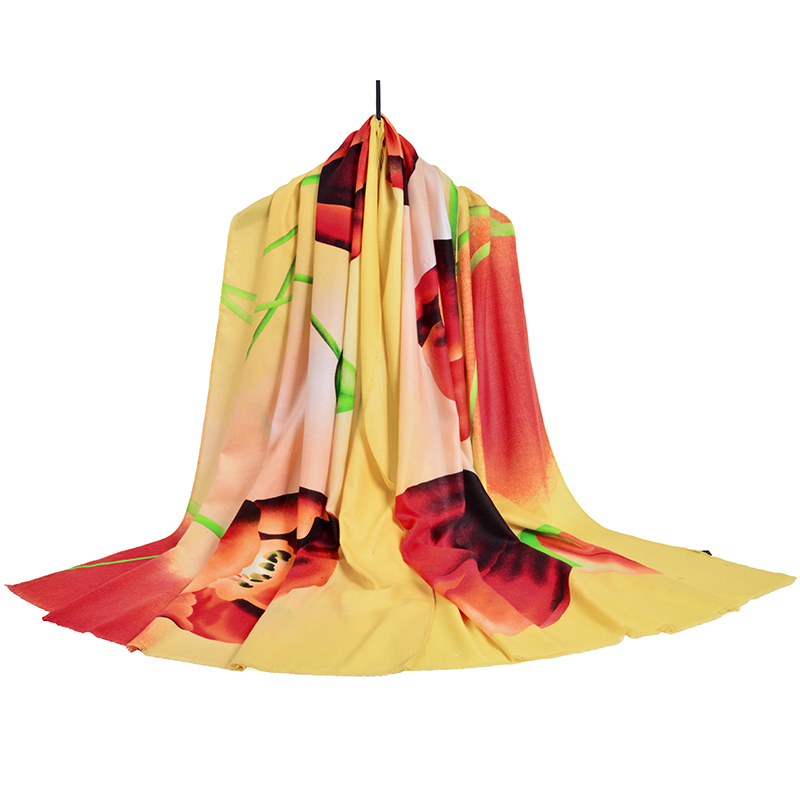 Scarf women 2017 fashion brand hot sale clothing accessories flower winter scarf cotton 185cm * 90cm hijab echarpe SF08