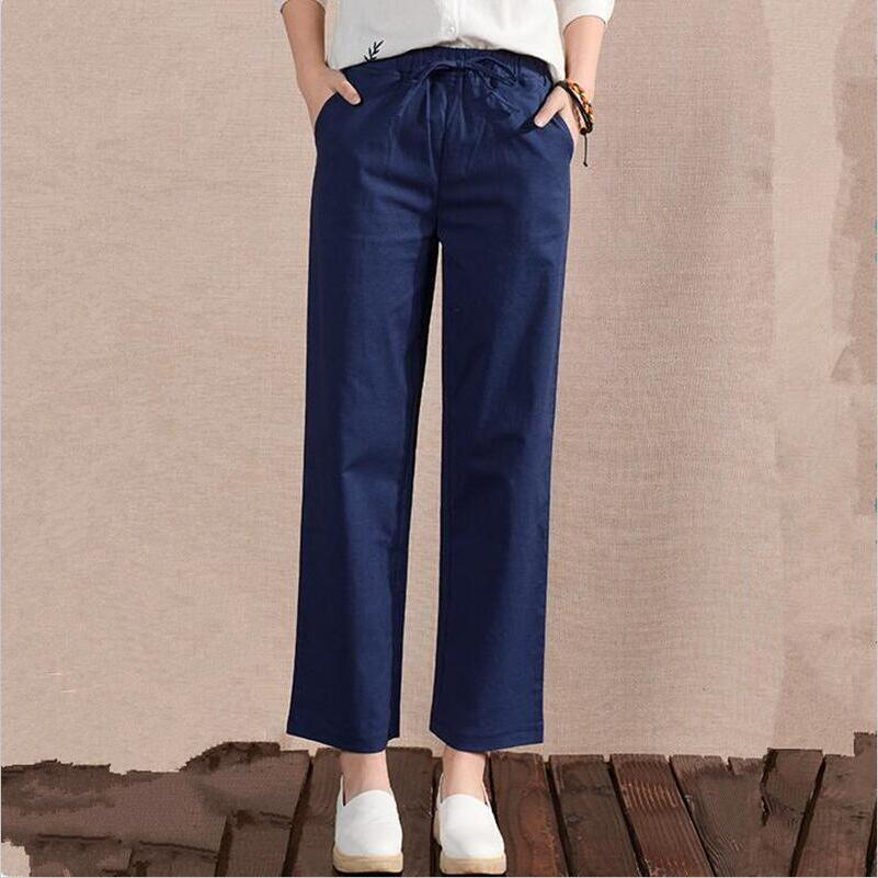 New Navy Blue Green Casual Loose Trousers 2018 Autumn Spring Vintage Solid Full   Pants   Plus Size M-6XL 7XL Elastic   Wide     Leg     Pants