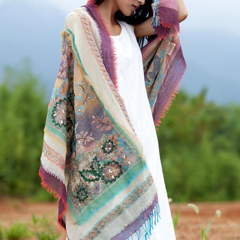 Style National Wrap Pashmina Solaire Châle Femme Automne Hiver Écharpe Népal Indai Broderie À La Main Châles Chaud Fleur