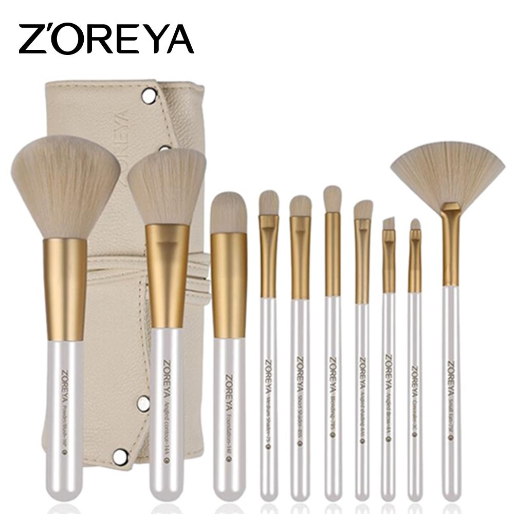 ZOREYA 10pcs/set Makeup Brush Set Professional Cosmetic Tools For Beauty Women Foundation Powder Blush Eyeliner Make Up Brushes zoreya 9pcs professional portable makeup brushes sets kolinsky hair foundation powder blush make up brush cosmetic tools pinceis