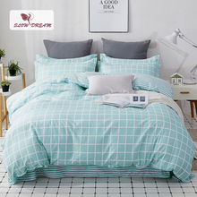 SlowDream Nordic Bedding Set Double Queen Duvet Cover Bedspread Grid Bed Cover Set Bed Linens Euro Set Bed Sheet 150/180 Set allover grid print sheet set