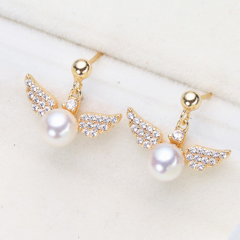 2018 Elegant Gold Double Micro Pave Rhinestone Angel Wings Stud Earrings 925 Pearl Earrings For Women Jewelry pair of graceful rhinestone faux pearl embellished earrings for women