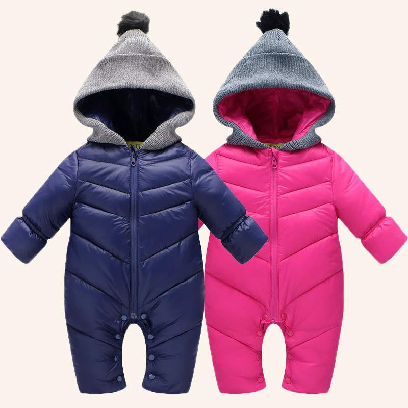 Baby Romper Snowsuit Winter Warm Jumpsuit Thick Climbing Clothes Newborn Baby  Boy Winter Rompers Long Sleeve With Fur Hooded winter baby rompers organic cotton baby hooded snowsuit jumpsuit long sleeve thick warm baby girls boy romper newborn clothing