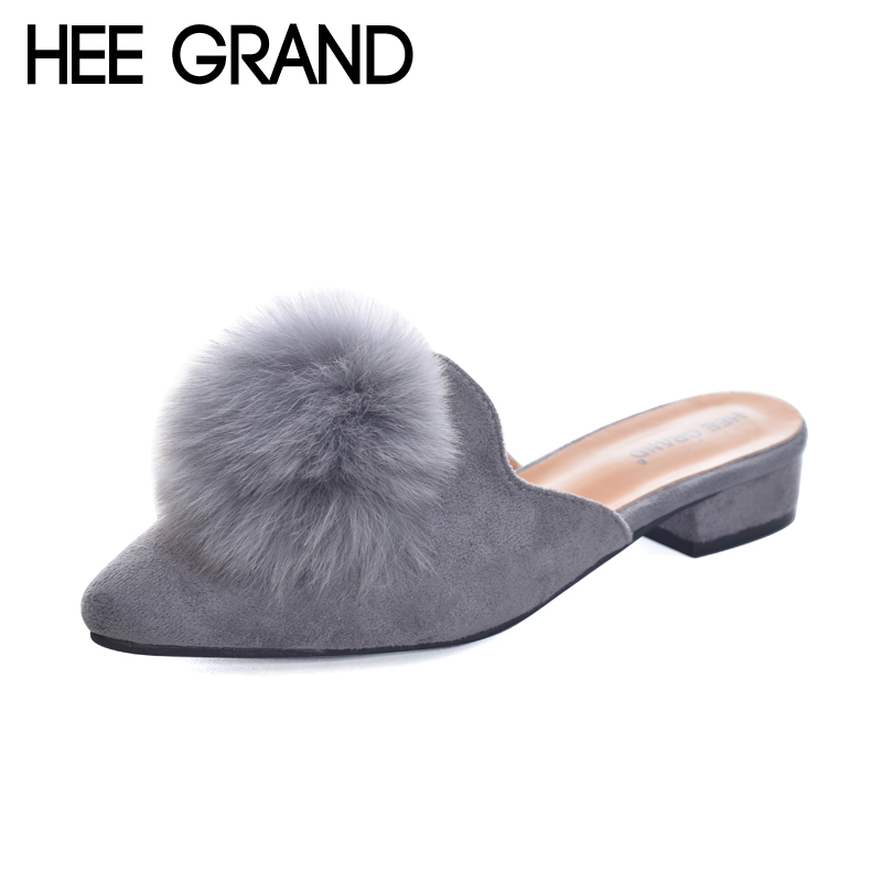 HEE GRAND Woman Mules Spring and Autumn Pumps Flock Vamp Shoes with Wool Balls W