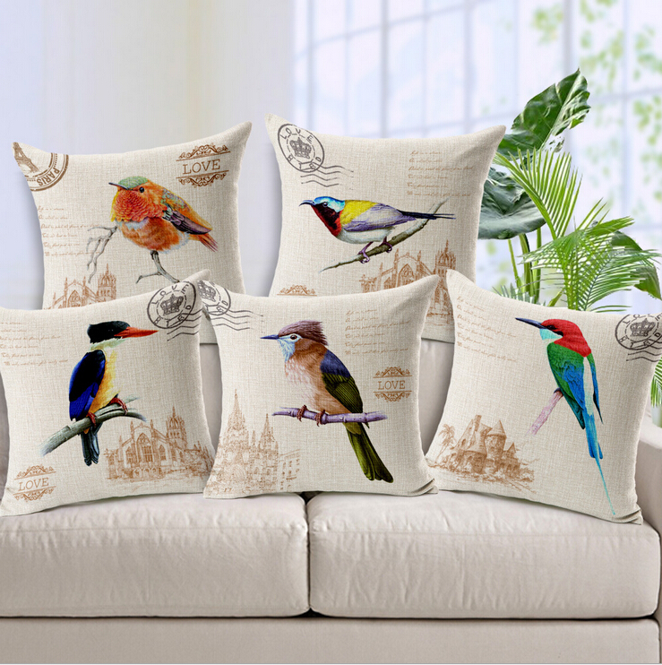 Bird Cushion Cover Almofadas Vintage French Country Decor Nordic Sofa Throw Pillows Capa Almofada Cuscini In From Home Garden On