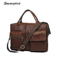 SOURCE POINT England Style Handcraft Cowide Leather Man Messenger Bags Genuine Leather Computer Bag Male Portfolio