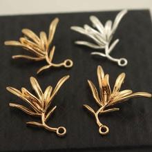 20шт латунный литой Оливковый лист дерева ветка для полуотверстия соединитель для бисера Высокое качество Золотой Цвет DIY кулон Ювелирное Украшение Поставки