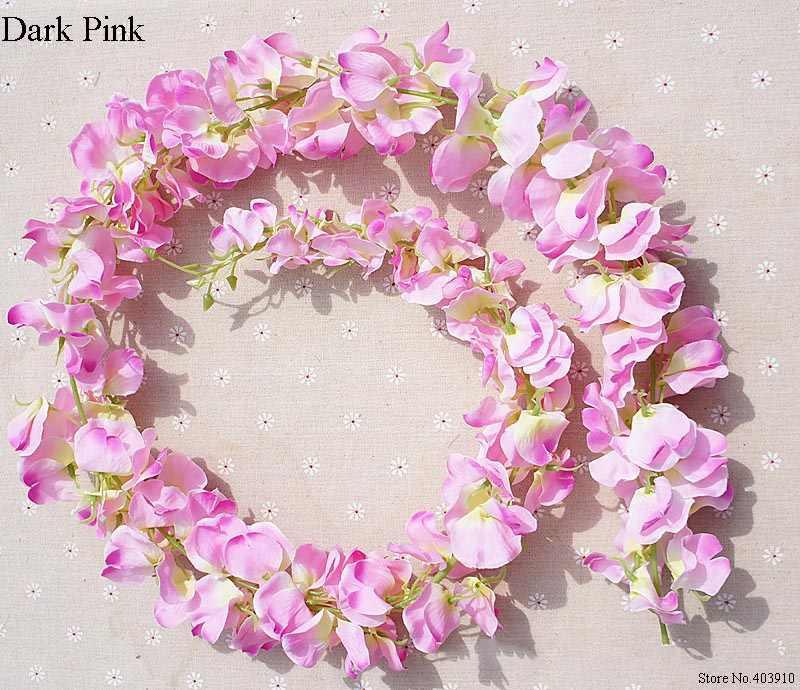 Panjang 120 Cm Wisteria Vine Rotan Bunga untuk Pernikahan Arch Dekorasi Pesta Putih Vine Buatan Bunga Flores Karangan Bunga Karangan