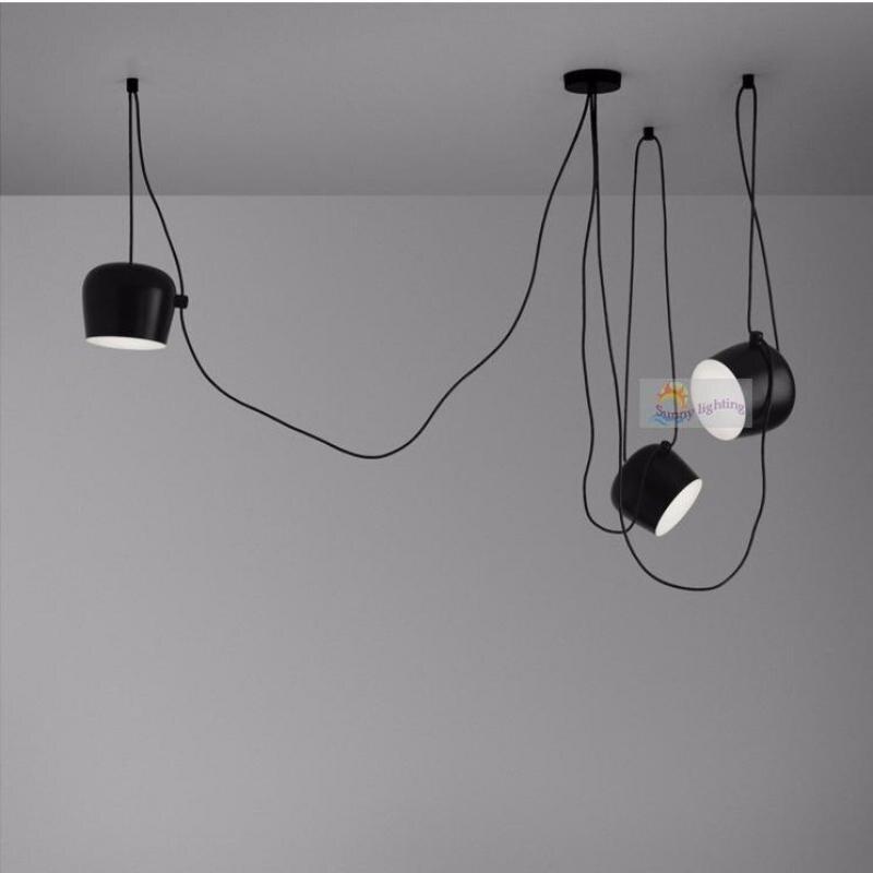 Фото Bar Black Bongos light for showcase cord lamp modern stair light long pendant lights string aluminum spider light adjustable