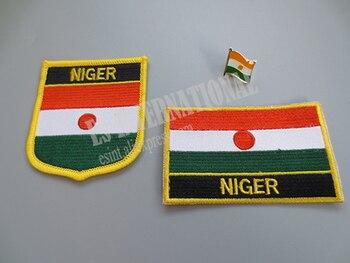 Haftowane naszywki z flagami narodowymi i metalowa przypinka do klapy flaga nigru