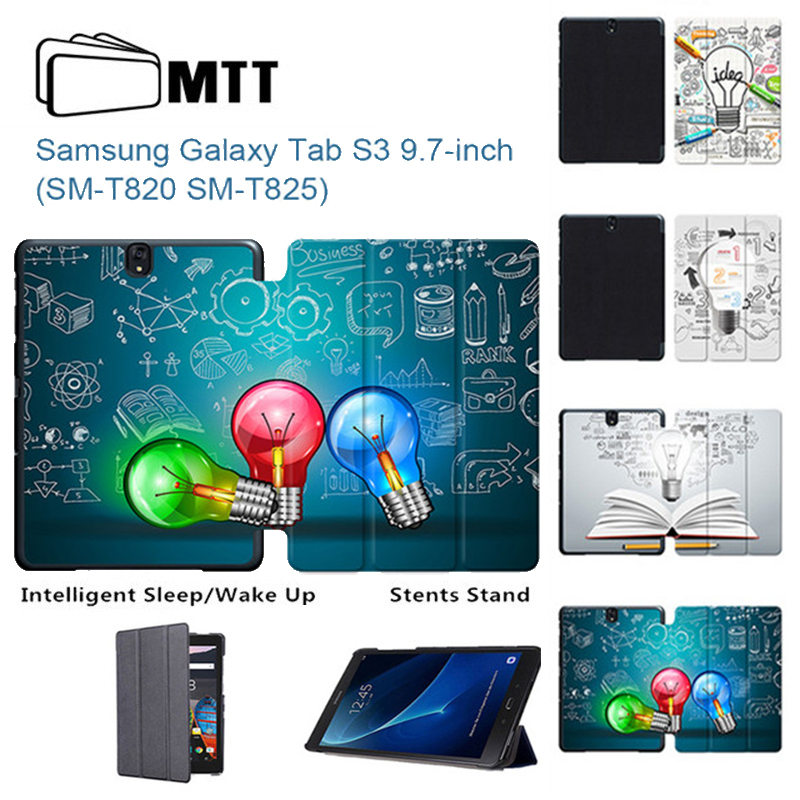 MTT Creative Bulb For Samsung Galaxy Tab S3 Case Tri-Fold PU Leather Magnetic Cover Case for Samsung Tab S3 9.7 T820 T825 Tablet for samsung galaxy tab s3 9 7 t820 t825 leather case stand cover business flip cover for samsung galaxy tab s3 9 7 t820 t825