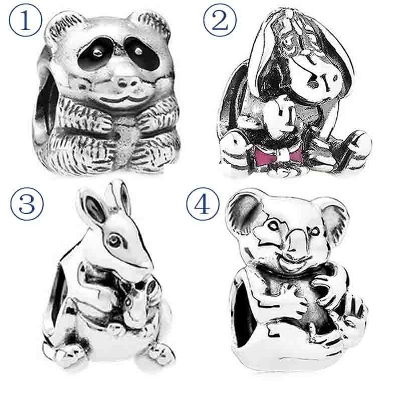 Animal Panda Black /& White Glass Sterling Silver Bead f// European Charm Bracelet