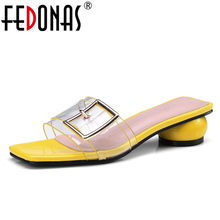 FEDONAS New Women Sandals Block Heel Summer Shoes Ladies High Heeled Shoes Woman Buckle 2018 Female Footwear Slippers Sandals(China)