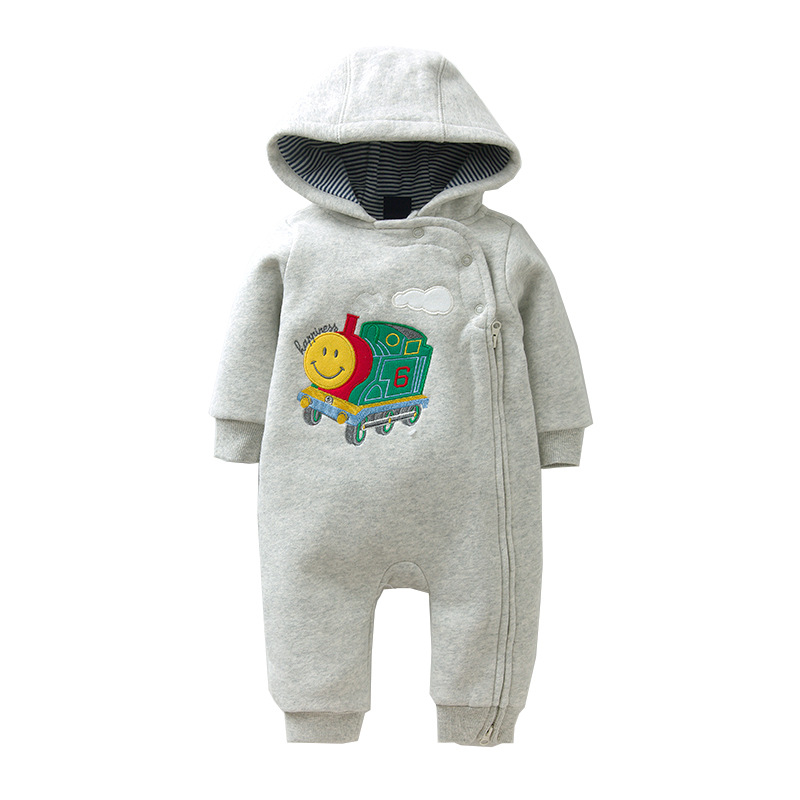 2017 New Brand Baby Boy Clothing Autumn Winter Warm Baby Rompers Cartoon Print Newborn Baby Clothes Infant Hooded Jumpsuit 6-24M cotton baby rompers set newborn clothes baby clothing boys girls cartoon jumpsuits long sleeve overalls coveralls autumn winter