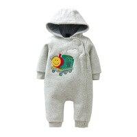 2017 New Brand Baby Boy Clothing Autumn Winter Warm Baby Rompers Cartoon Print Newborn Baby Clothes
