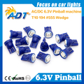 Envío Gratis 100 Unidades Anti Parpadeo Pinball W5W led 555 6.3 V AC/DC 5050SMD Azul Para Williams Pinball Máquina de juego