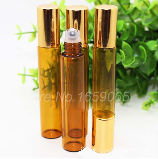 US $53 0 |10ml amber roll on roller perfume atomizer sample bottles f  essential oils roll on refillable deodorant containers w golden lid-in