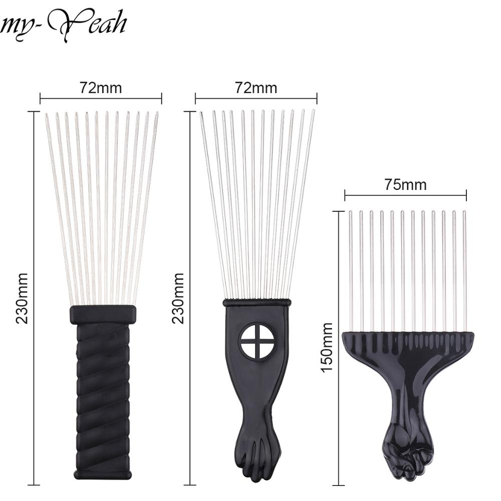 Wide Teeth Metal Afro Comb Insert Curly Hairbrush Hair Fork Pick Comb Fist Shape Black Handle Hairdressing Brush Styling Tool