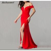 Red Formal Dress Women Elegant Off Shoulder Evening Girls Wedding Party Dress Prom Gown Side Slit Backless Sexy Robe De Soiree