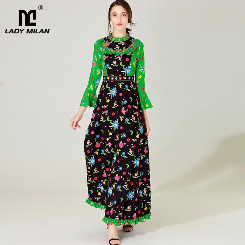 New Arrival 2018 Womens O Neck Long Sleeves Ruffles Beaded Color Block Floral Printed Elegant Maxi Runway Casual Dresses