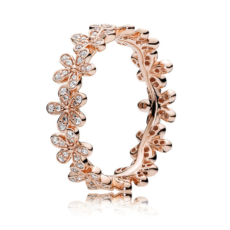 100% Real 925 Sterling Silver Rose Gold Dazzling Daisy Chain Ring For Women Engagement Wedding Ring Fine Pandora Jewelry Gift
