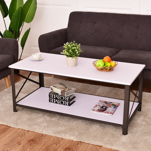 Giantex Wood Coffee Table Tail Side Accent Metal Frame With Storage Shelf White Living Room