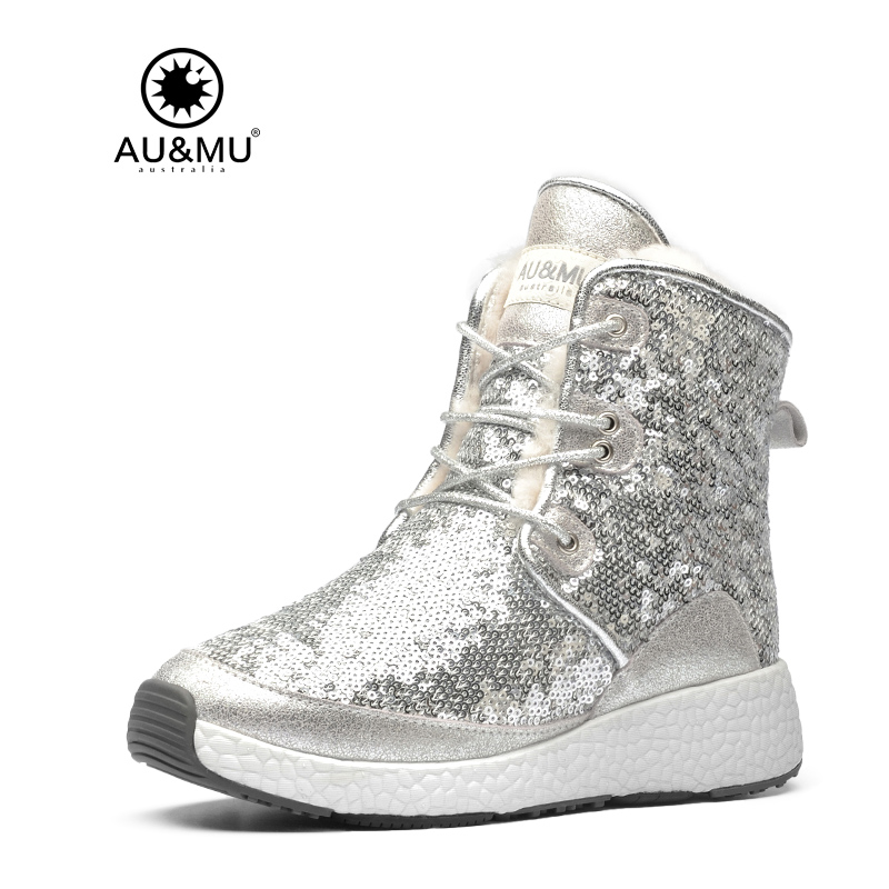 2017 AUMU Australia Women Fashion Bling Short Sparkles Winter Snow Boots UG NY086 2017 aumu australia women classic short sheepskin elastic suede winter snow boots ug ny082