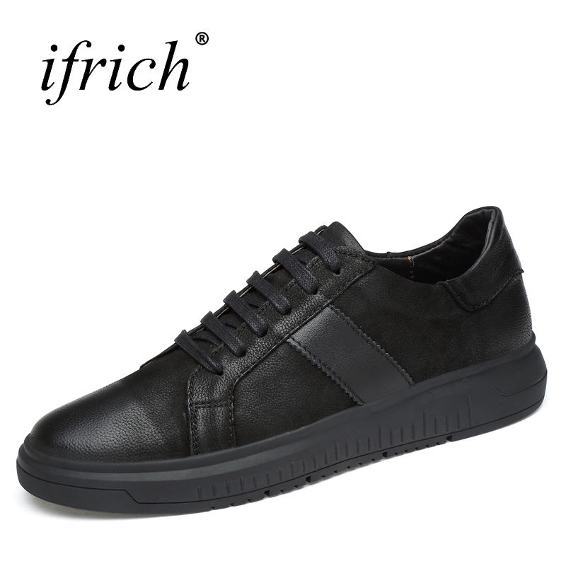 Ifrich Spring Summer Genuine Leather Men's Footwear Lace Up Black Cow - Men's Shoes