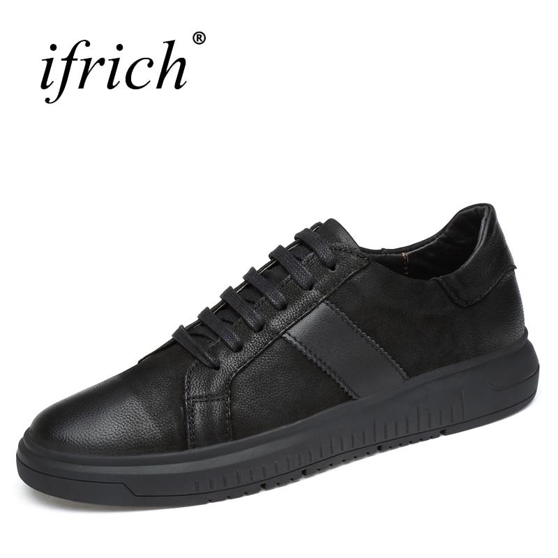 Ifrich jarní léto pravá kůže pánská obuv krajka nahoru černá - Pánské boty