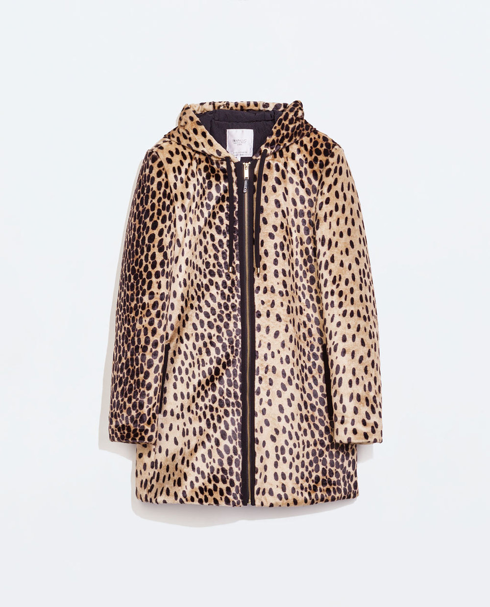 Original ZA 2015 Women Winter Leopard Faux Fur Padded Cotton Hooded Quilted Lining Jacket Long Parkas Coat 1255/294 factory outlets 2014 new winter in europe and america women british style stitching cotton quilted jacket short parkas coat
