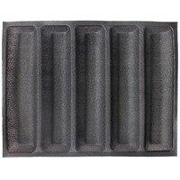 Non-stick Geperforeerde Bakken Mat voor 12-Inch Sub Rolls, 5 Mallen Non-stick Siliconen Brood Bakken Liners Metro Brood Schimmel Vorm
