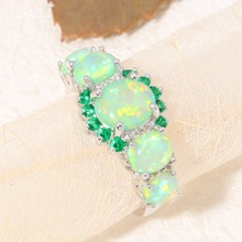 CiNily Created Green Fire Opal Crystal Silver Plated Ring Wholesale Retail Hot Sell for Women Jewelry Ring Size 5-12 OJ7552