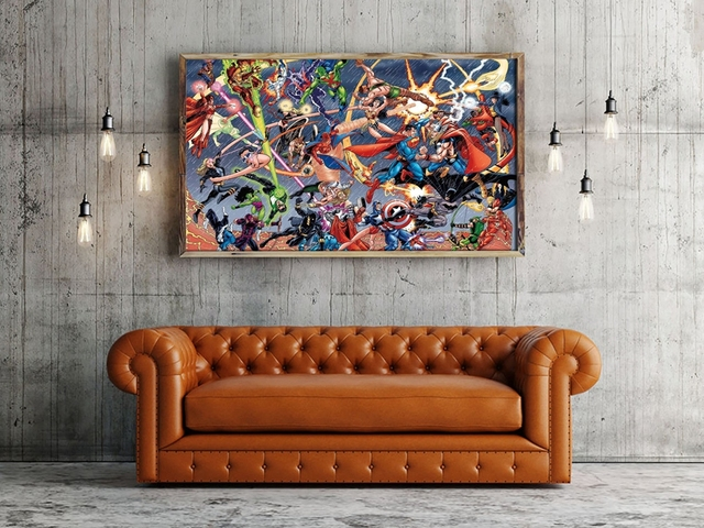 A2936 Marvel vs DC Superman Comics Cartoon Figure.HD Canvas Print Home decoration Living Room bedroom Wall pictures Art painting