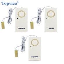 Topvico 3pcs Sensor De Vazamento De Água Detector de Vazamento De Água De Alarme de Detecção De Inundação 130dB Alerta de Segurança Sem Fio Em Casa Sistema de Alarme