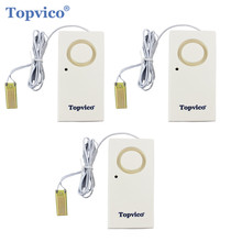 Topvico 3pcs Water Leakage Sensor Detector Water Leak Alarm Flood Detection 130dB Alert Wireless Home Security Alarm System