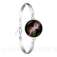 Galaxy Nebula Bracelet Glass Cabochon Solar System 18mm Glass Dome Planet Universe Classic Silver Plated Bangle(China)