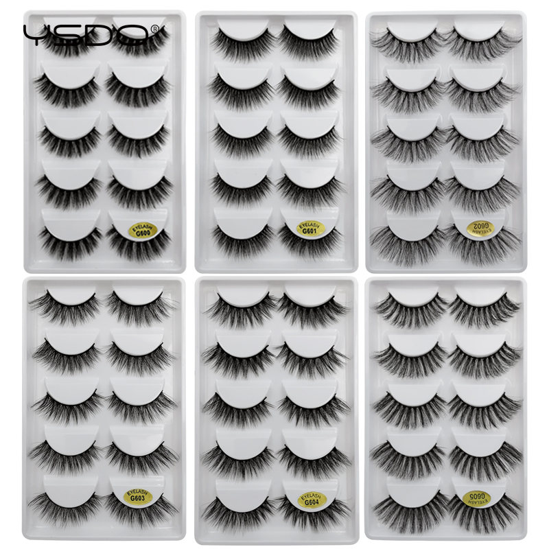 YSDO 5 Pairs Eyelashes Hand Made 100% False Eyelashes Natural Long Mink Eyelashes 3d Mink Hair Lashes Strip Eyelashes Cilios G6A