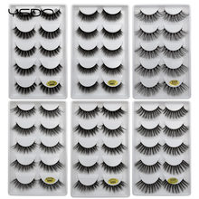 YSDO 5 pairs eyelashes hand made 100% false natural long mink 3d hair lashes strip cilios G6A