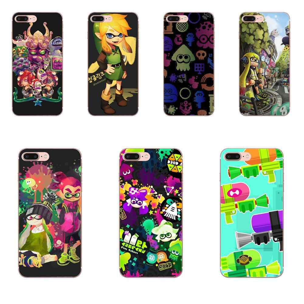 Para A Apple iPhone 4 4S 5 5C 5S SE 6 7 8 Plus X XS Max XR 6 S Suave TPU Transparente Caso Tampa Do Telefone de Silicone Splatoon